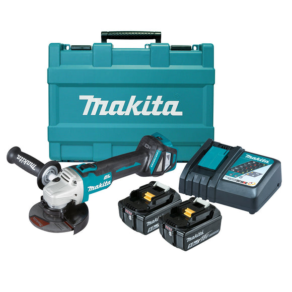 Makita 18V BRUSHLESS 125mm Variable Speed Slide Switch Angle Grinder Kit - Includes 2 x 5.0Ah Batteries, Rapid Charger & Carry Case