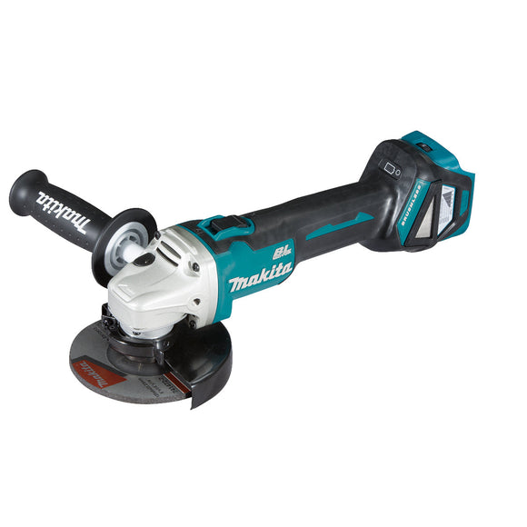 Makita 18V BRUSHLESS 125mm Angle Grinder, Slide Switch, Variable Speed, Kick Back Detection - Tool Only