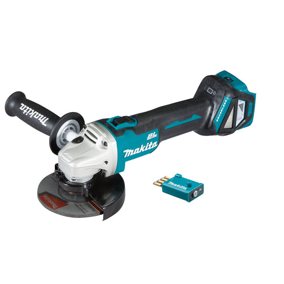 Makita 18V BRUSHLESS AWS 125mm Angle Grinder, Slide Switch, Variable Speed, Kick Back Detection - Tool Only