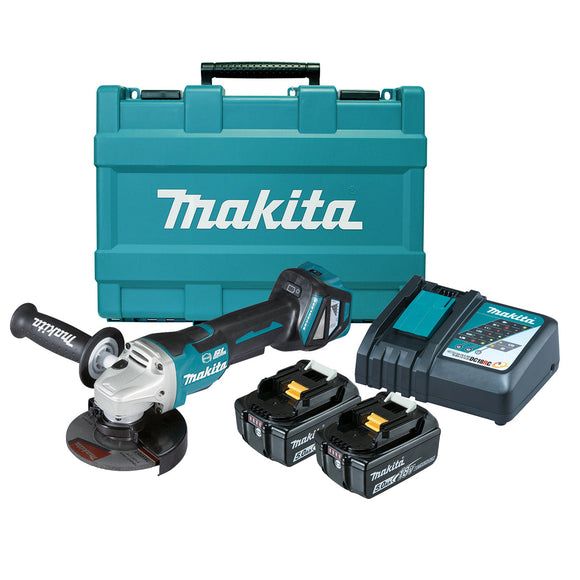 Makita 18V BRUSHLESS 125mm Variable Speed Paddle Switch Angle Grinder Kit - Includes 2 x 5.0Ah Batteries, Rapid Charger & Carry Case