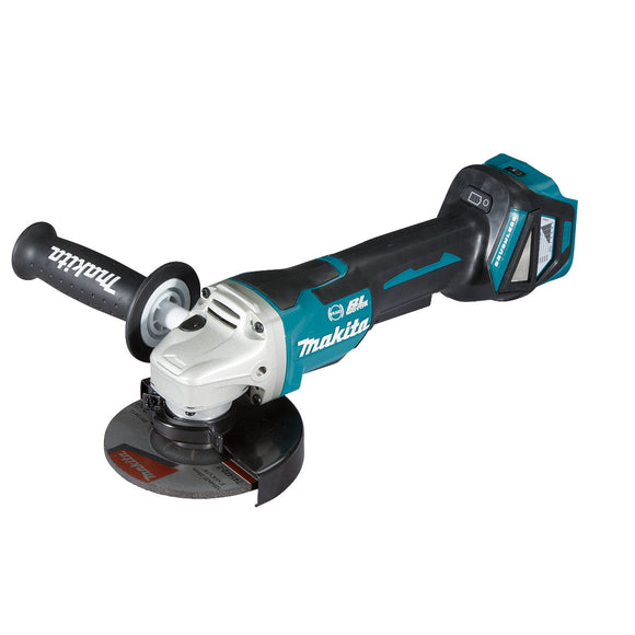 Makita 18V BRUSHLESS 125mm Angle Grinder, Paddle Switch, Variable Speed, Kick Back Detection, Electric Brake - Tool Only