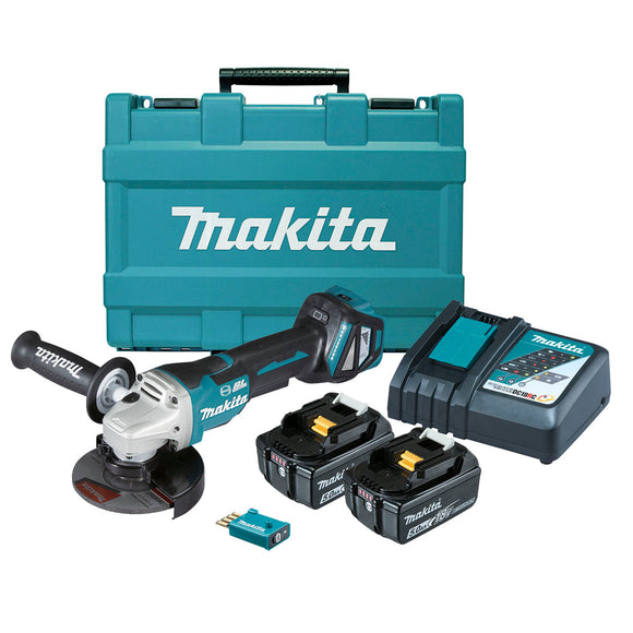 Makita 18V BRUSHLESS AWS 125mm Variable Speed Paddle Switch Brake Angle Grinder Kit - Includes 2 x 5.0Ah Batteries, Rapid Charger & Carry Case