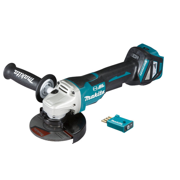 Makita 18V BRUSHLESS AWS 125mm Angle Grinder, Paddle Switch, Variable Speed, Kick Back Detection, Electric Brake - Tool Only