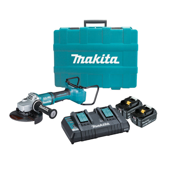 Makita 18Vx2 BRUSHLESS 180mm Paddle Switch Angle Grinder Kit - Includes 2 x 5.0Ah Batteries, Dual Port Rapid Charger & Carry Case