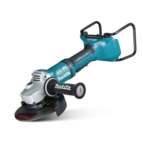 Makita 18Vx2 BRUSHLESS 180mm Angle Grinder, Paddle Switch, Kick Back Detection, Electric Brake & Carry Case - Tool Only