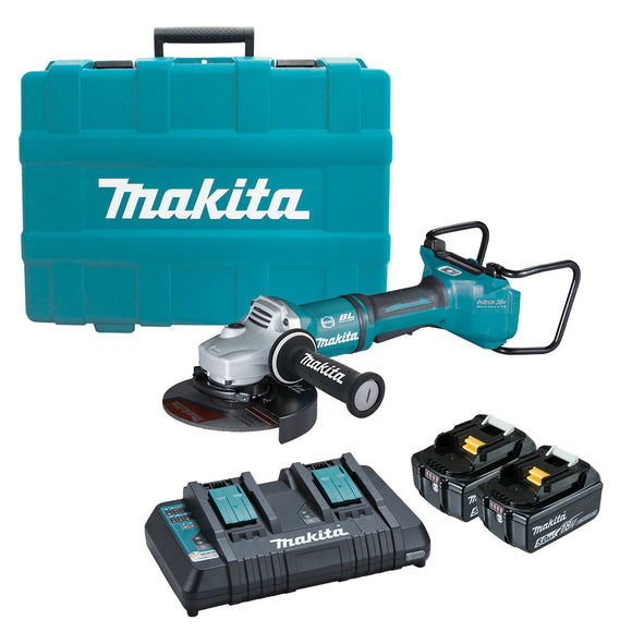 Makita 18Vx2 BRUSHLESS AWS 180mm Paddle Switch Angle Grinder Kit - Includes 2 x 5.0Ah Batteries, Dual Port Rapid Charger & Carry Case