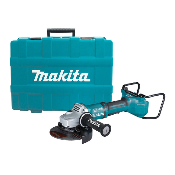 Makita 18Vx2 BRUSHLESS AWS 180mm Angle Grinder, Paddle Switch, Kick Back Detection, Electric Brake, Anti-Vib Handle & Carry Case - Tool Only