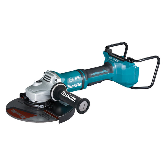 Makita 18Vx2 BRUSHLESS 230mm Angle Grinder, Paddle Switch, Kick Back Detection, Electric Brake & Carry Case - Tool Only