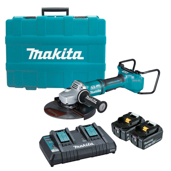 Makita 18Vx2 BRUSHLESS AWS 230mm Paddle Switch Angle Grinder Kit - Includes 2 x 5.0Ah Batteries, Dual Port Rapid Charger & Carry Case
