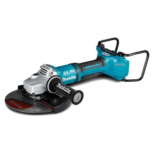 Makita 18Vx2 BRUSHLESS AWS 230mm Angle Grinder, Paddle Switch, Kick Back Detection, Electric Brake, Anti-Vib Handle & Carry Case - Tool Only