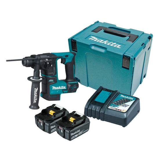 Makita 18V SUB-COMPACT BRUSHLESS 17mm Rotary Hammer Kit - Includes 2 x 5.0Ah Batteries, Rapid Charger & Carry Case
