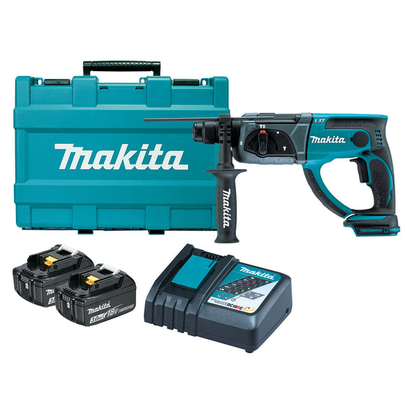 Makita 18V 20mm SDS Plus Rotary Hammer Kit - Includes 2 x 3.0Ah Batteries, Rapid Charger & Carry Case