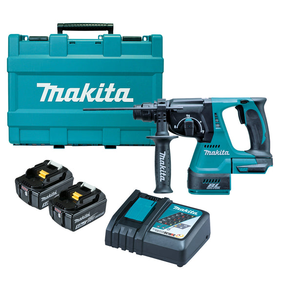 Makita 18V BRUSHLESS 24mm Rotary Hammer Kit - Includes 2 x 5.0Ah Batteries, Rapid Charger & Carry Case