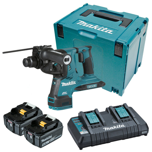 Makita 18Vx2 BRUSHLESS AWS* 28mm SDS Plus Rotary Hammer Kit - Includes 2 x 5.0Ah Batteries, Same Time Dual Port Rapid Charger & Makpac Case *AWS Receiver sold separately (198901-5)