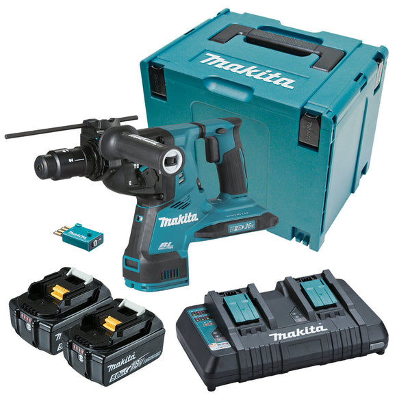 Makita 18Vx2 BRUSHLESS AWS 28mm SDS Plus Rotary Hammer Kit - Includes 2 x 5.0Ah Batteries, Same Time Dual Port Rapid Charger & Makpac Case