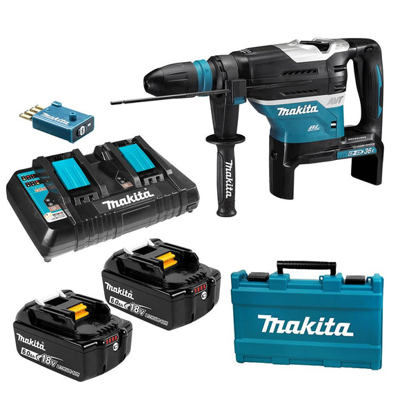 Makita 36V (18V x 2) 6.0Ah LXT Li-ion Cordless Brushless AWS 40mm SDS Max Rotary Hammer Combo Kit with Wireless Unit