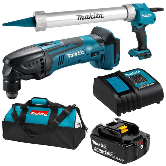 Makita 18V Cordless  18V Caulking Gun & Multi Tool 5.0Ah Combo