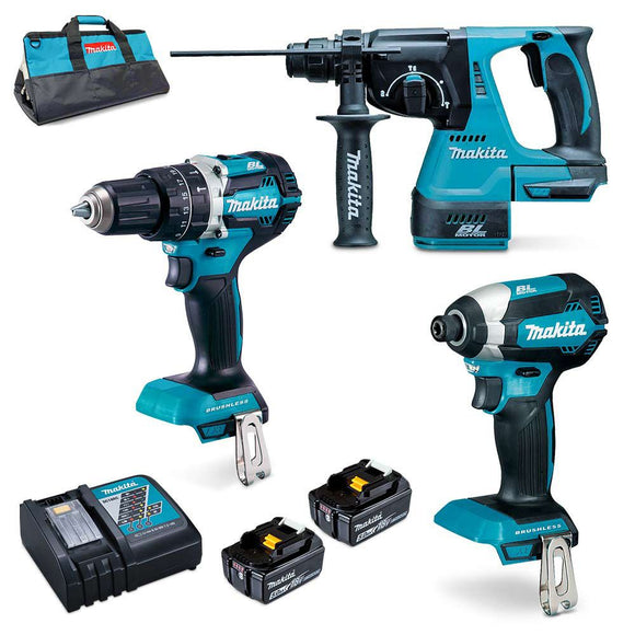 Makita 18V Cordless 3-Piece Brushless Combo Kit