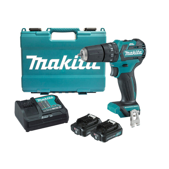 Makita 12V Max BRUSHLESS Hammer Driver Drill Kit - Includes 2 x 2.0Ah Batteries, Rapid Charger & Case