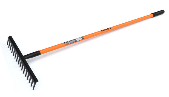 Landscapers Rake - Long Handle, solid hot formed one piece head with strengthened back for added strength,angled teeth for easier raking.