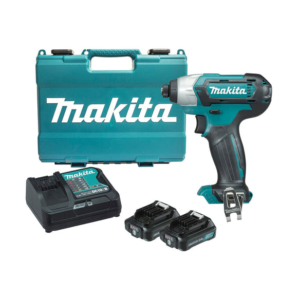 Makita 12V Max Impact Driver Kit - Includes 2 x 2.0Ah Batteries, Rapid Charger & Case