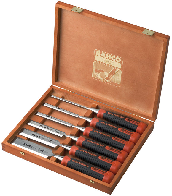 Chisel set, 6 piece - 6, 10, 12, 18, 25 & 32mm - wooden box, splitproof handle