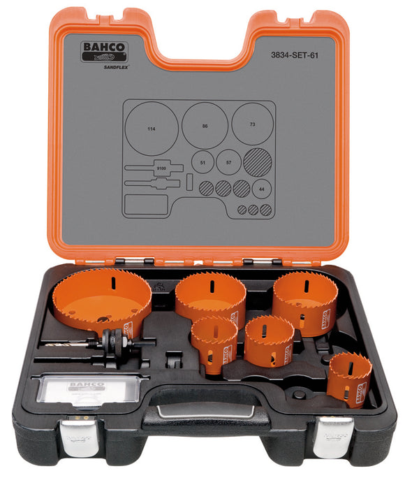 Holesaw set 7 pce Plumbers 44, 51, 57, 73, 86, 114 mm & 9100 arbor