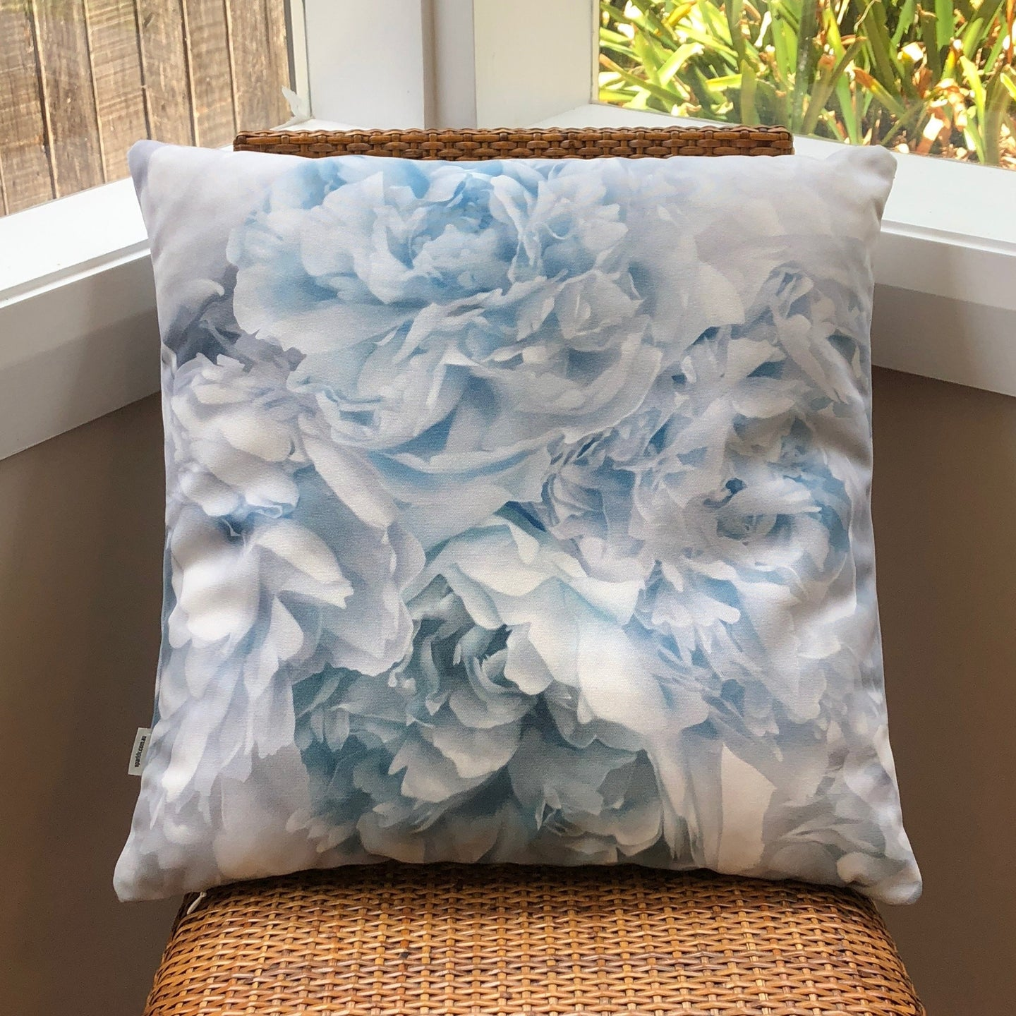 Aqua Peony Cushion by Flying Dutchman Walls