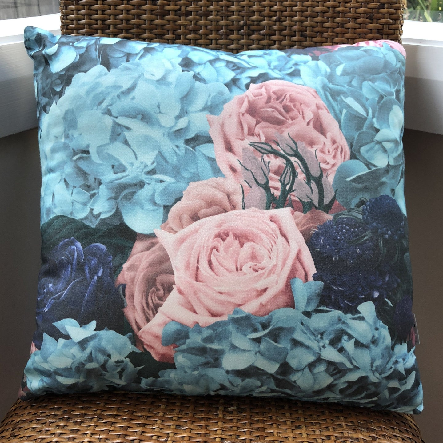 Dusty Green & Pink Bouquet Cushion by Flying Dutchman Walls