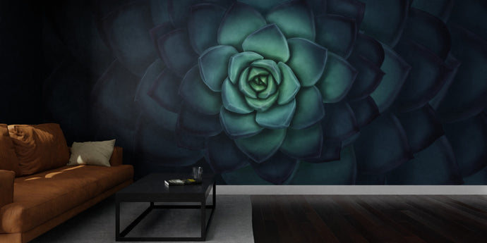 Deep Blue Echeveria Mural Wallpaper