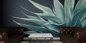 Pale Green on Deep Blue Agave Mural Wallpaper