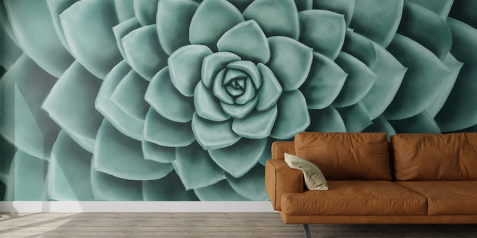 Mint Echeveria Mural Wallpaper