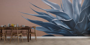 Blue on Peach Agave Mural Wallpaper