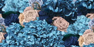 Dusty Blue and Cream Hydrangea, Protea and Rose Bouquet Wallpaper