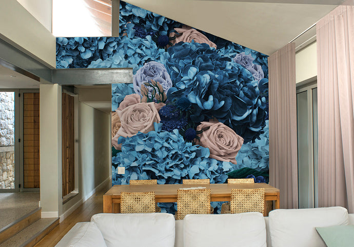 Dusty Blue & Cream Bouquet Mural Wallpaper