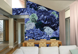 Mint Green & Purple Bouquet Mural Wallpaper