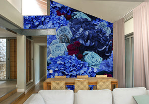 Blue & Fuchsia Bouquet Mural Wallpaper