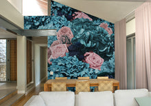 Dusty Green, Peach & Navy Bouquet Mural Wallpaper