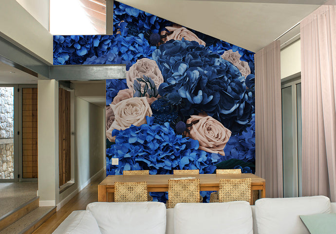 Ink & Cream Bouquet Mural Wallpaper
