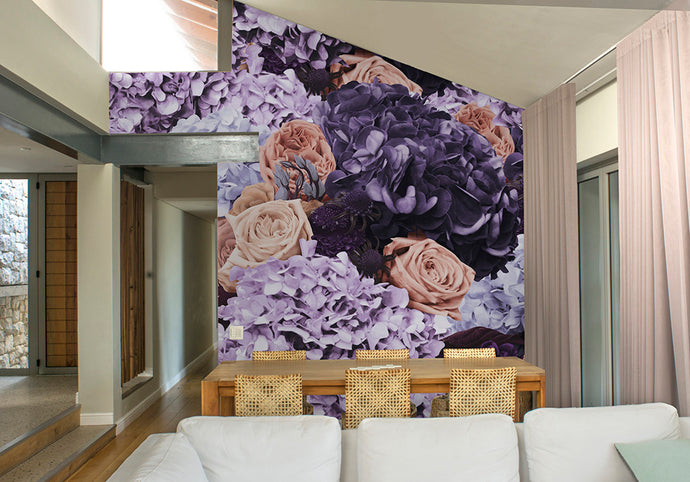 Violet & Cream Bouquet Mural Wallpaper
