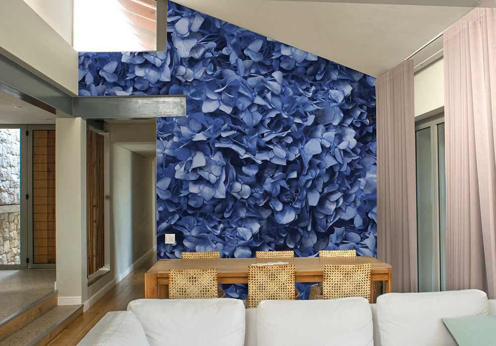 Dusty Blue Hydrangea Mural Wallpaper