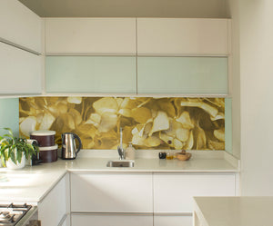 Gold Hydrangea Mural Wallpaper