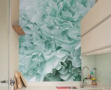 Mint Green Peony Mural Wallpaper