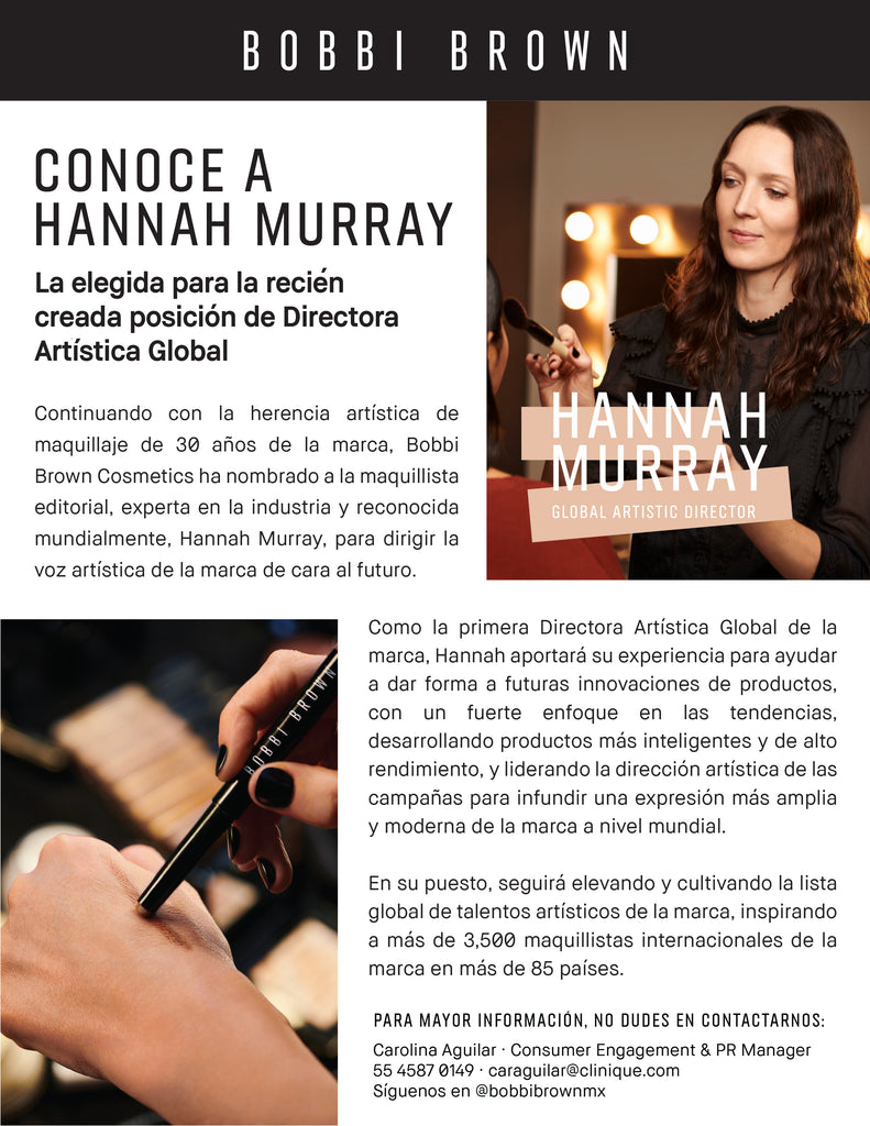 Conoce a Hannah Murray Nueva Directora Artística Global de Bobbi Brown