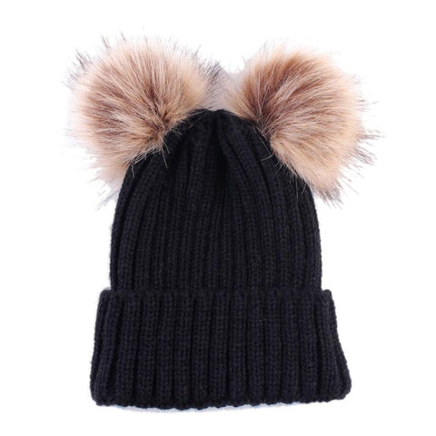 Women's Winter Knitted Faux Fur Pompom Hat