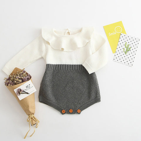 Baby Girl Knit Long Sleeve Romper