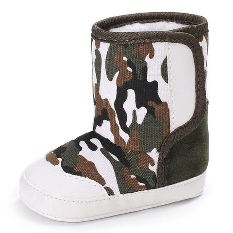 Camouflage Baby Soft Sole Cozy Boots