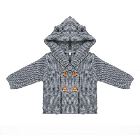 Hooded Baby Knit Cardigan with Ears
