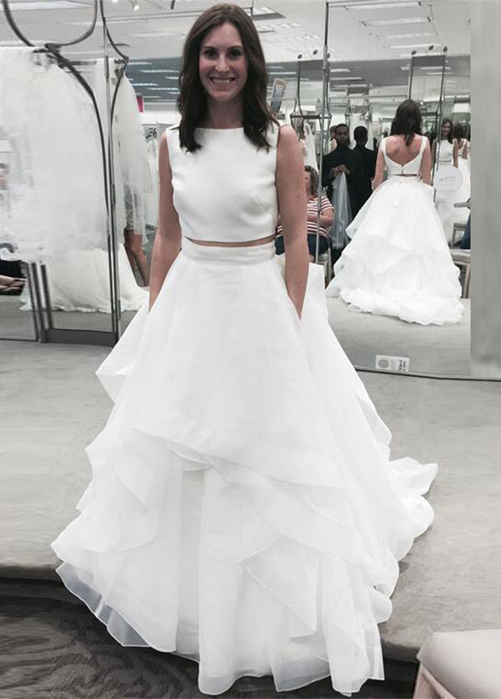 White ruffles jewel newest A-line two-piece sleeveless wedding ...