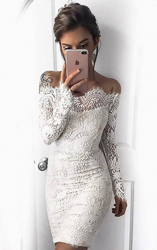 Short Simple White Mermaid Long Sleeve Tight Cocktail Dresses T22